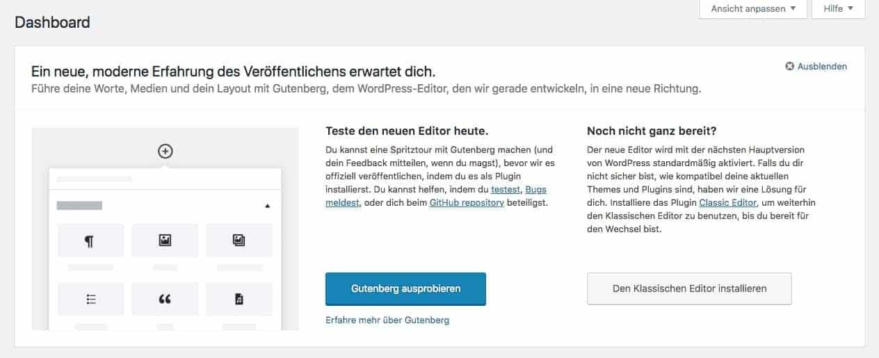 WordPress Dashboard - Gutenberg Hinweis