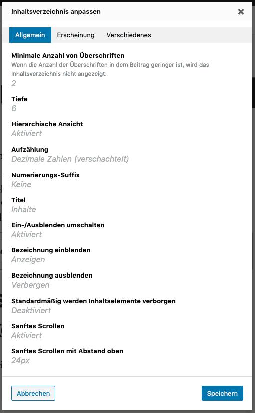 Screenshot der Block-Einstellungen von LuckyWP Table of Contents.