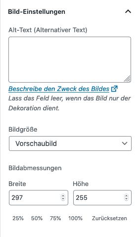Screenshot der Bild-Einstellungen des Block-Editors beim Bild-Block.